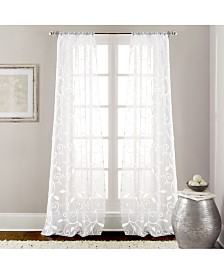 "2 Pack 37"" x 84"" Embroidered Sheet Panel Curtains"