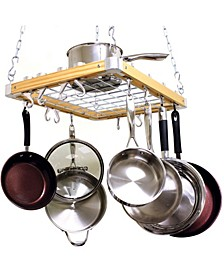 """Ceiling Mounted Wooden Pot Rack, 24"""" X 18"""""""