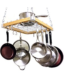 "Cooks Standard Ceiling Mounted Wooden Pot Rack, 24"" X 18"""