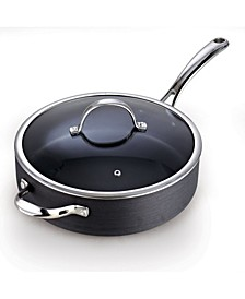 """5 Quart 11"""" Hard Anodized Nonstick Deep Saute Pan with Lid and Helper Handle"""