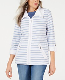 Karen Scott Petite Striped Zip-Front Jacket, Created for Macy's
