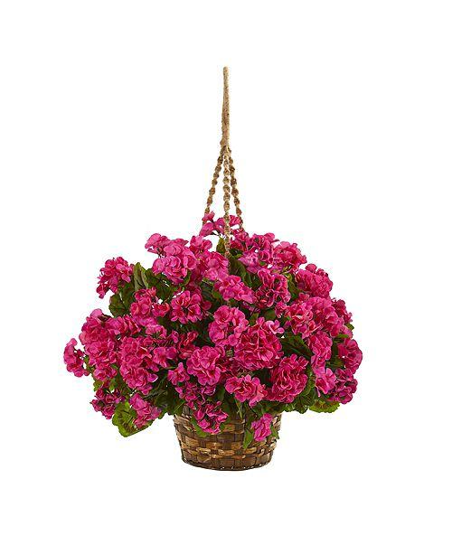Nearly Natural Geranium Hanging Basket Artificial Plant UV Resistant