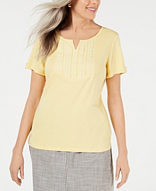 Petite Cotton Embroidered-Detail Split-Neck Top, Created for Macy's