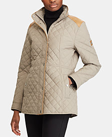 Lauren Ralph Lauren Petite Faux-Leather-Trim Quilted Jacket