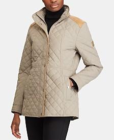 Lauren Ralph Lauren Quilted Faux-Leather-Trim Coat