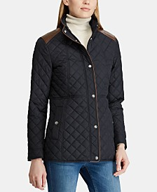 Lauren Ralph Lauren Quilted Faux-Leather-Trim Coat