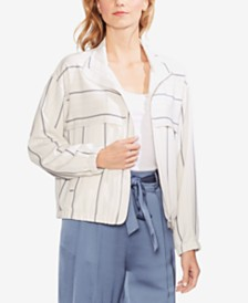 Vince Camuto Striped Bomber Jacket