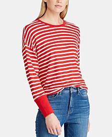 Lauren Ralph Lauren Striped Dolman-Sleeve Top