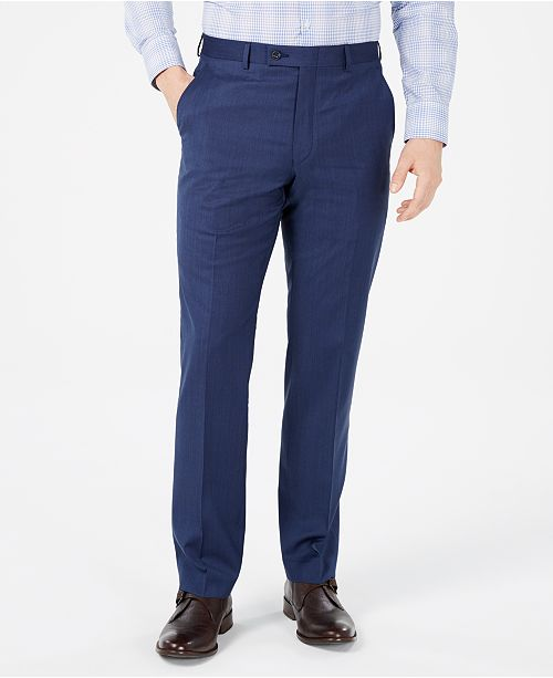 Michael Kors Men's Classic-Fit Airsoft Stretch Dark Blue Mini Herringbone Suit Pants