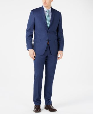 Men's Classic-Fit Airsoft Stretch Dark Blue Mini Herringbone Suit Pants