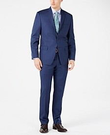 Men's Classic-Fit Airsoft Stretch Dark Blue Mini Herringbone Suit Separates
