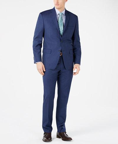 Michael Kors Men's Classic-Fit Airsoft Stretch Dark Blue Mini Herringbone Suit Separates