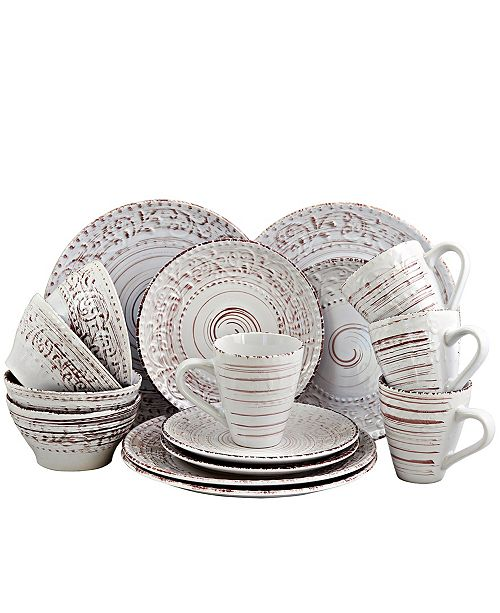 Elama Malibu Sands 16 Piece Dinnerware Set in Shell