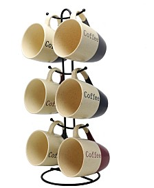 Elama Coffee House 6 Piece 12 Ounce Mug Set with Stand, Assorted Colors
