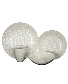 Ivory Terrace 4 Piece Textured Dinnerware Set