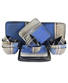Uptown Loft 16 Piece Double Bowl Stoneware Dinnerware Set