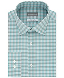 Michael Kors Men's Classic/Regular Fit Check Dress Shirt with Non-Iron Performance Airsoft Stretch