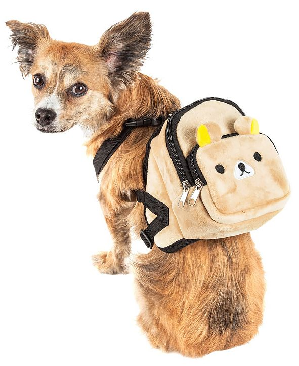 Pet Life Central Pet Life 'Teddy Tails' Dual-Pocketed Compartmental Animated Dog Harness Backpack
