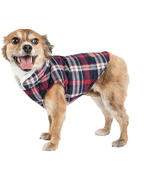 Pet Life Central Pet Life 'Puddler' Classical Plaided Insulated Dog Coat Jacket