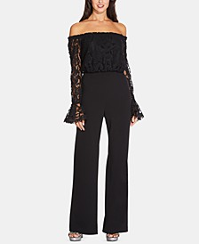 Petite Lace Off-The-Shoulder Jumpsuit