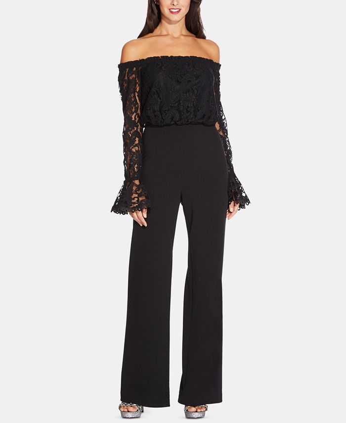 Adrianna Papell - Petite Lace Off-The-Shoulder Jumpsuit