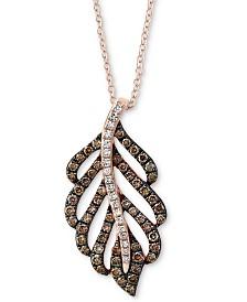 "EFFY® Diamond 18"" Pendant Necklace (7/8 ct. t.w.) in 14k Rose Gold"