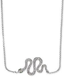 "EFFY® Diamond 18"" Snake Necklace (1/10 ct. t.w.) in 14k White Gold"
