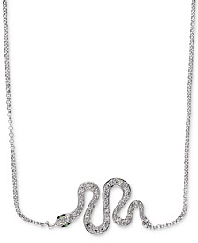 "EFFY® Diamond 18"" Snake Necklace (1/10 ct. t.w.) in 14k White Gold"