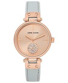 Anne Klein Women's Light Gray Leather Strap Watch 34mm