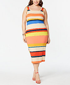 Planet Gold  Trendy Plus Size Striped Bodycon Dress