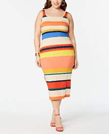 Planet Gold  Trendy Plus Size Striped Bodycon Dress