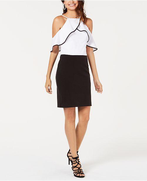 XOXO Colorblocked Cold-Shoulder Dress