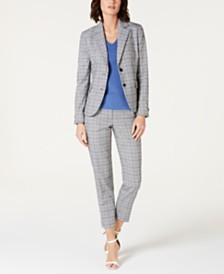 Anne Klein Plaid Blazer, V-Neck Top & Plaid Pants