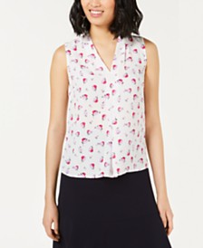Bar III Floral Pleat Top, Created for Macy's