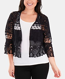 NY Collection Cotton Ruffled Lace Shrug