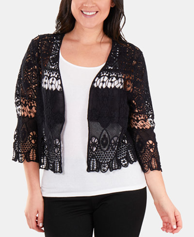 NY Collection Cotton Ruffled Lace Shrug