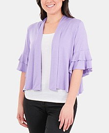 Double-Ruffle Sleeve Shrug