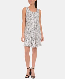 NY Collection Petite Printed Keyhole-Back Dress with Necklace