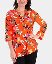 NY Collection Floral-Print Utility Top