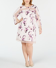 Alfani Plus Size Illusion-Trim Shift Dress, Created for Macy's