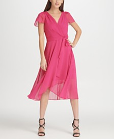 DKNY Hi-Lo Surplice Chiffon Dress, Created for Macy's