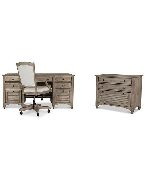 Furniture York Home Office, 3-Pc. Furniture Set (Executive Desk, Upholstered Desk Chair & Lateral File Cabinet)