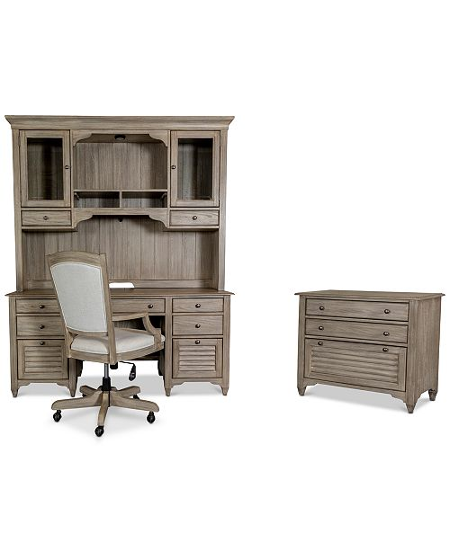 Furniture York Home Office, 4-Pc. Furniture Set (Credenza Desk, Credenza Hutch, Upholstered Desk Chair & Lateral File Cabinet)