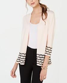 Alfani Wavy-Trim Cardigan, Created for Macy's