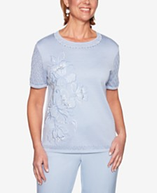 Alfred Dunner Southampton Embellished-Neck Sweater