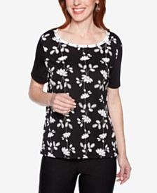 Alfred Dunner Native New Yorker Embellished Printed Top