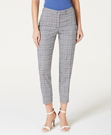 Anne Klein Plaid Extended-Tab Pants
