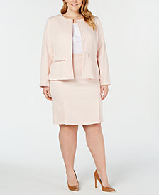 Calvin Klein Plus Size Textured Peplum Jacket, Pleated Top & Textured Pleated Skirt