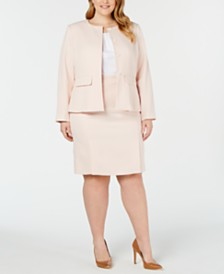 Calvin Klein Plus Size Textured Peplum Jacket, Pleated Top & Textured Pleated Skirt