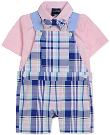 Nautica Baby Boys 3-Pc. Shirt, Plaid-Print Shortalls & Bowtie Set